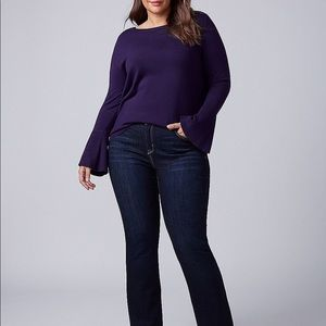 Lane Brayant Plum Sweater With Bell Sleeves